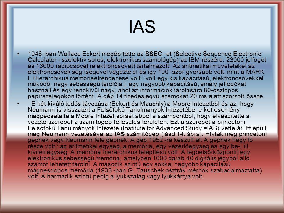 IAS 1948 -ban Wallace Eckert megépítette az SSEC -et (Selective Sequence Electronic Calculator - szelektív soros, elektronikus számológép) az IBM rész