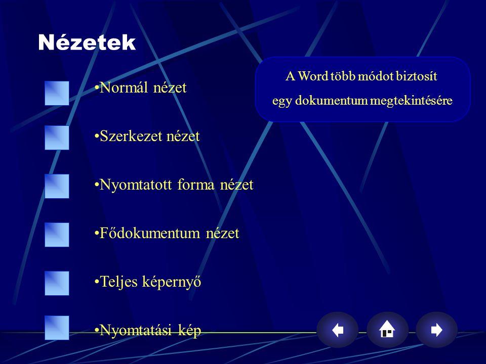 Nézetek Normál nézet Szerkezet nézet Nyomtatott forma nézet Fődokumentum nézet Teljes képernyő Nyomtatási kép A Word több módot biztosít egy dokumentu