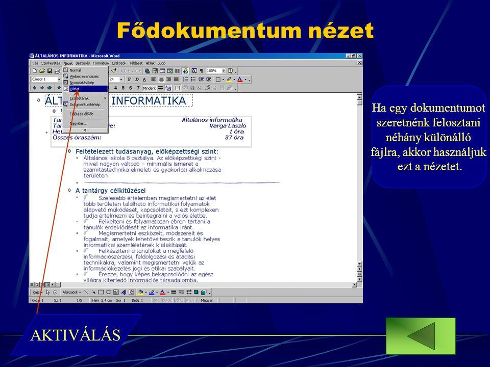 Fődokumentum nézet Ha egy dokumentumot szeretnénk felosztani néhány különálló fájlra, akkor használjuk ezt a nézetet. AKTIVÁLÁS