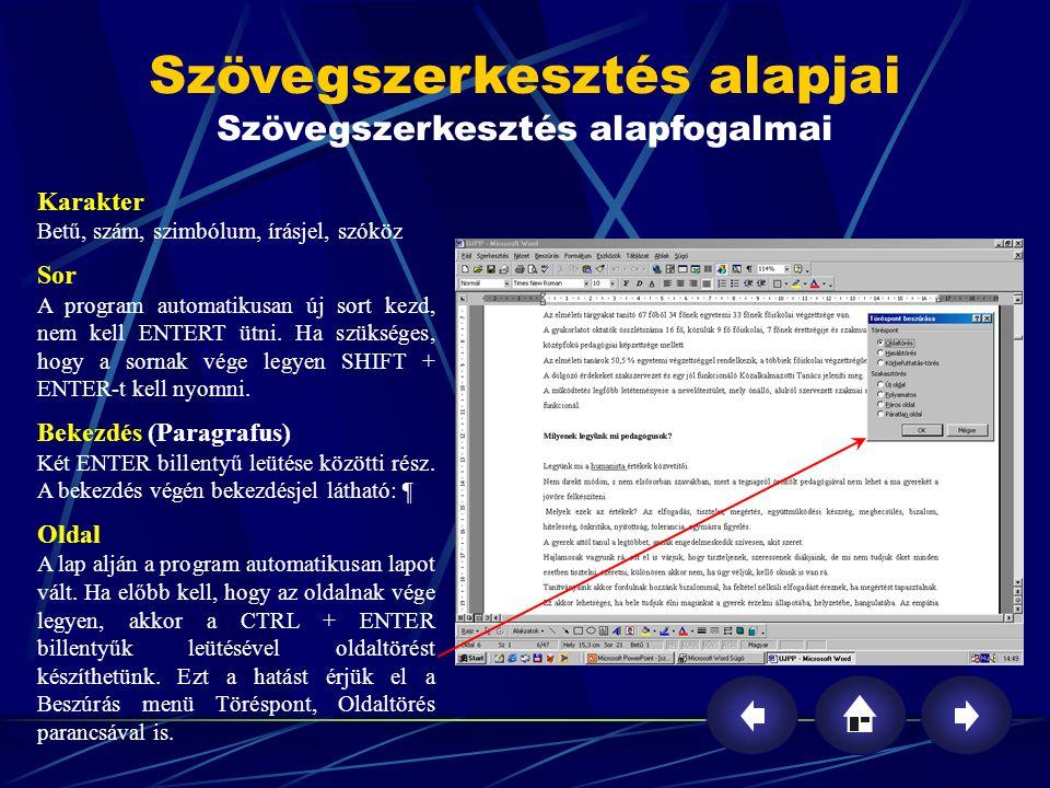 Szövegszerkesztés alapfogalmai (folytatás) Szekció-szakasz A dokumentumot bármennyi szakaszra feloszthatjuk.