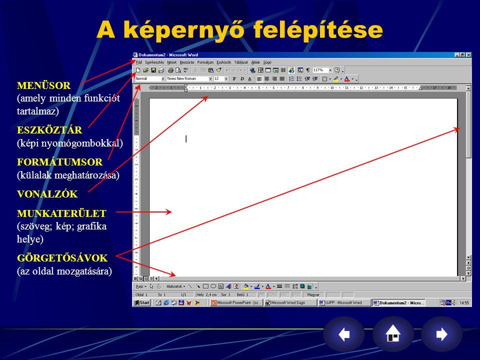 MENÜSOR (amely minden funkciót tartalmaz) ESZKÖZTÁR (képi nyomógombokkal) FORMÁTUMSOR (külalak meghatározása) VONALZÓK MUNKATERÜLET (szöveg; kép; graf