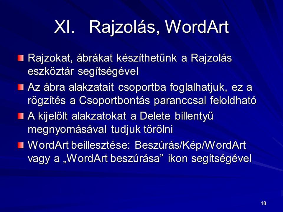 18 XI.Rajzolás, WordArt Rajzokat, ábrákat készíthetünk a Rajzolás eszköztár segítségével Az ábra alakzatait csoportba foglalhatjuk, ez a rögzítés a Cs