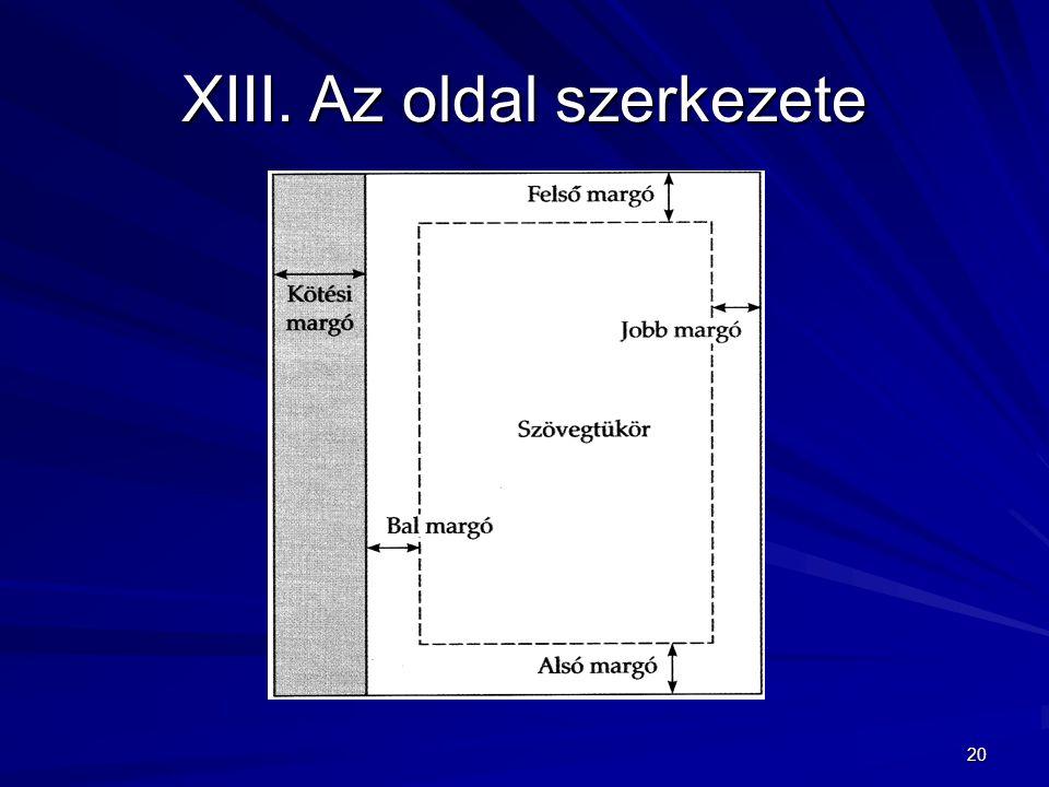 20 XIII.Az oldal szerkezete