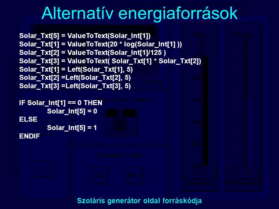 Alternatív energiaforrások Szoláris generátor oldal forráskódja Solar_Txt[5] = ValueToText(Solar_Int[1]) Solar_Txt[1] = ValueToText(20 * log(Solar_Int