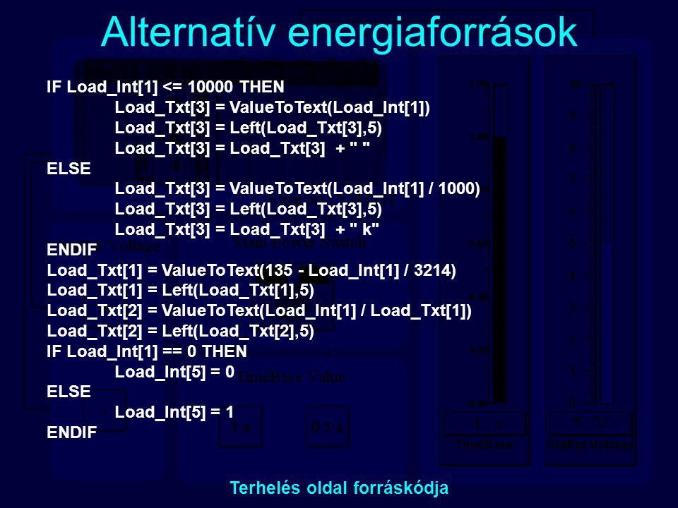 Alternatív energiaforrások Terhelés oldal forráskódja IF Load_Int[1] <= 10000 THEN Load_Txt[3] = ValueToText(Load_Int[1]) Load_Txt[3] = Left(Load_Txt[