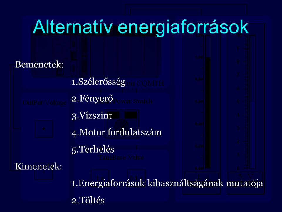 Alternatív energiaforrások Bemenetek: 1.Szélerősség 2.Fényerő 3.Vízszint 4.Motor fordulatszám 5.Terhelés Kimenetek: 1.Energiaforrások kihasználtságána