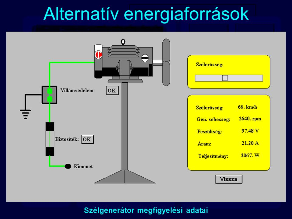 Alternatív energiaforrások Szélgenerátor megfigyelési adatai