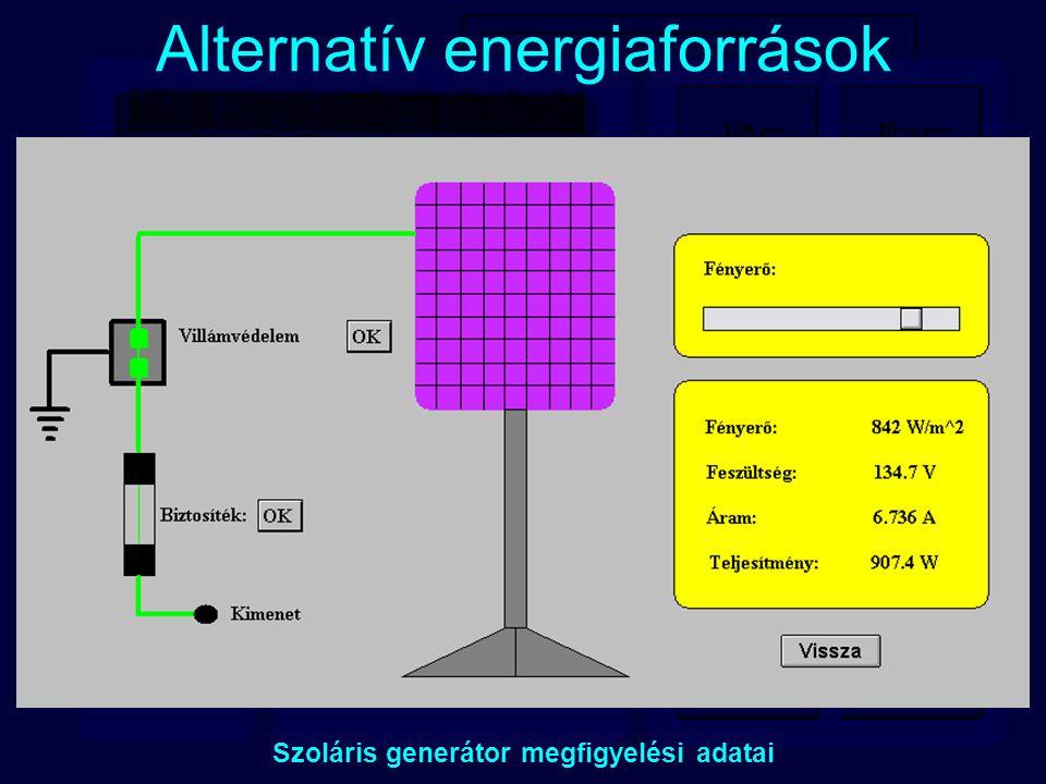 Alternatív energiaforrások Szoláris generátor megfigyelési adatai