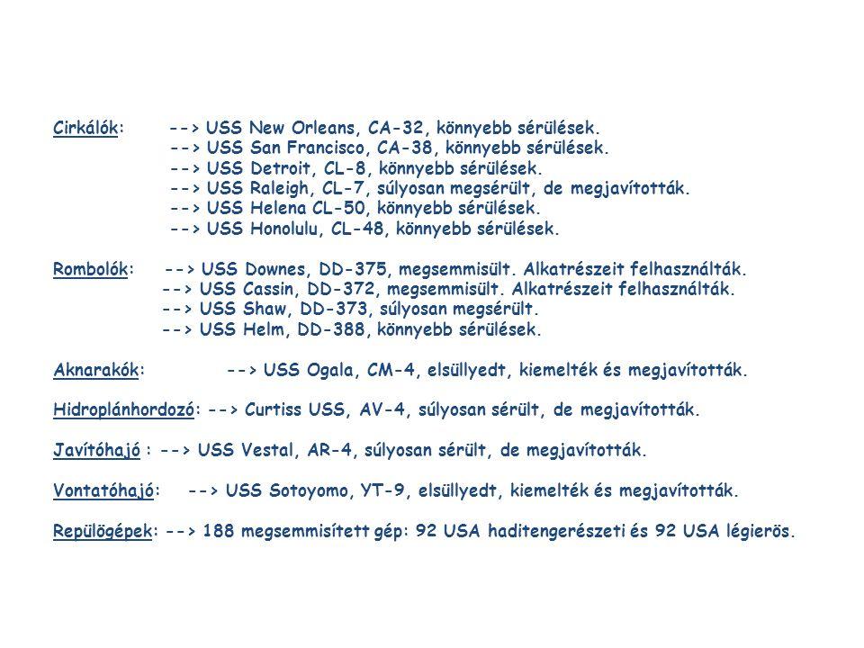 Cirkálók: --> USS New Orleans, CA-32, könnyebb sérülések. --> USS San Francisco, CA-38, könnyebb sérülések. --> USS Detroit, CL-8, könnyebb sérülések.