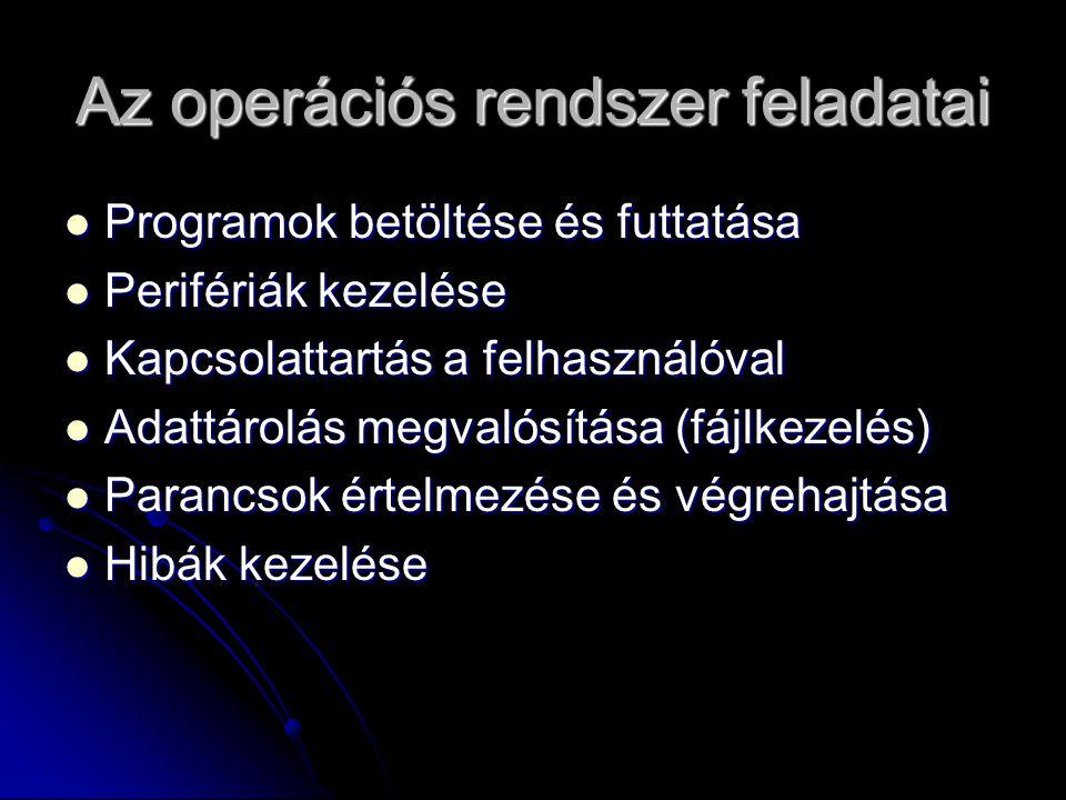 Az operációs rendszer feladatai Programok betöltése és futtatása Programok betöltése és futtatása Perifériák kezelése Perifériák kezelése Kapcsolattar