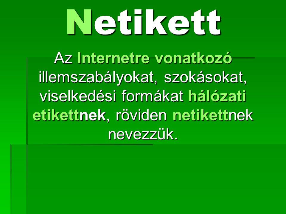 Netikett Az Internetre vonatkozó illemszabályokat, szokásokat, viselkedési formákat hálózati etikettnek, röviden netikettnek nevezzük.