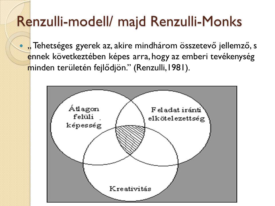 """Renzulli-modell/ majd Renzulli-Monks """" Tehetséges gyerek az, akire mindhárom összetevő jellemző, s ennek következtében képes arra, hogy az emberi tevékenység minden területén fejlődjön. (Renzulli,1981)."""