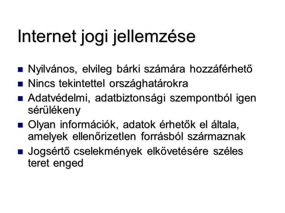 Internet jogi jellemzése Nyilvános, elvileg bárki számára hozzáférhető Nyilvános, elvileg bárki számára hozzáférhető Nincs tekintettel országhatárokra