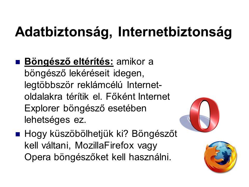 Adatbiztonság, Internetbiztonság Böngésző eltérítés: amikor a böngésző lekéréseit idegen, legtöbbször reklámcélú Internet- oldalakra térítik el. Főkén