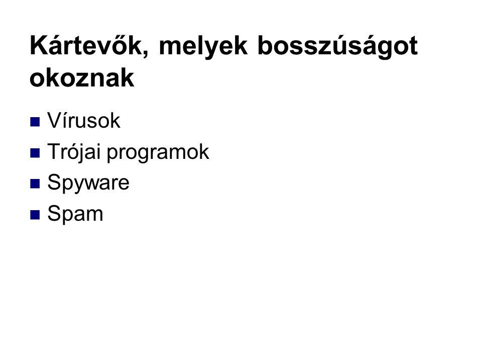 Kártevők, melyek bosszúságot okoznak Vírusok Trójai programok Spyware Spam
