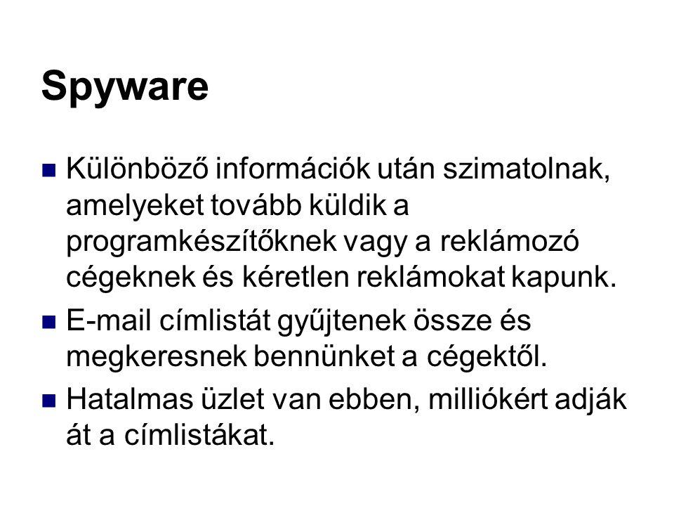 Spyware Különböző információk után szimatolnak, amelyeket tovább küldik a programkészítőknek vagy a reklámozó cégeknek és kéretlen reklámokat kapunk.