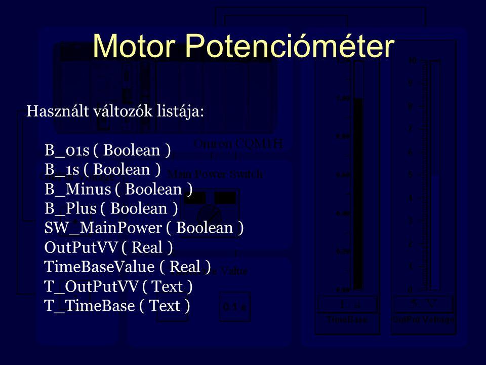 Motor Potencióméter Használt változók listája: B_01s ( Boolean ) B_1s ( Boolean ) B_Minus ( Boolean ) B_Plus ( Boolean ) SW_MainPower ( Boolean ) OutP