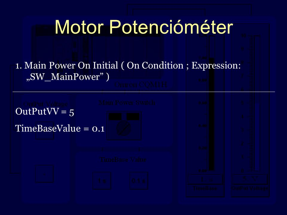 "Motor Potencióméter 1. Main Power On Initial ( On Condition ; Expression: ""SW_MainPower"" ) OutPutVV = 5 TimeBaseValue = 0.1"
