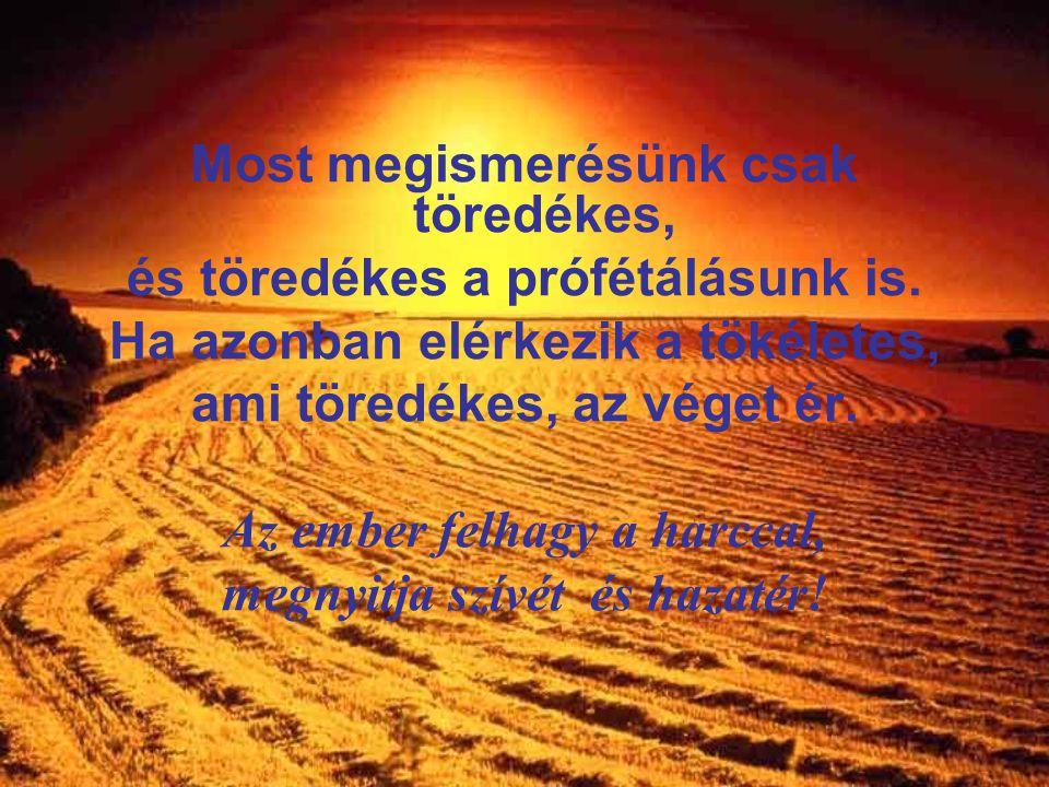 A prófétálás véget ér, a nyelvek elhallgatnak, a tudomány elenyészik. Add, hogy a Szeretet ne vesszen el soha! Nélküle az Élet üressé válik! A Lélekne