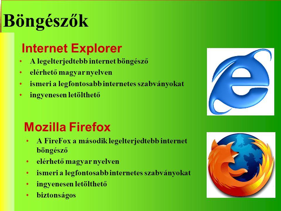 A FireFox a második legelterjedtebb internet böngésző elérhető magyar nyelven ismeri a legfontosabb internetes szabványokat ingyenesen letölthető bizt