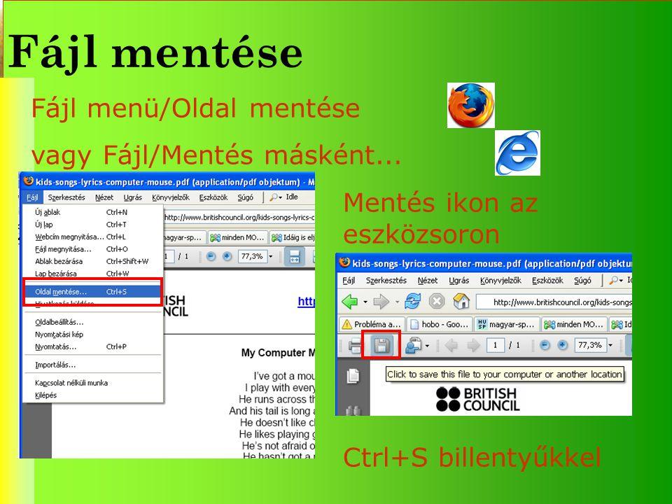 Fájl mentése Fájl menü/Oldal mentése vagy Fájl/Mentés másként... Mentés ikon az eszközsoron Ctrl+S billentyűkkel