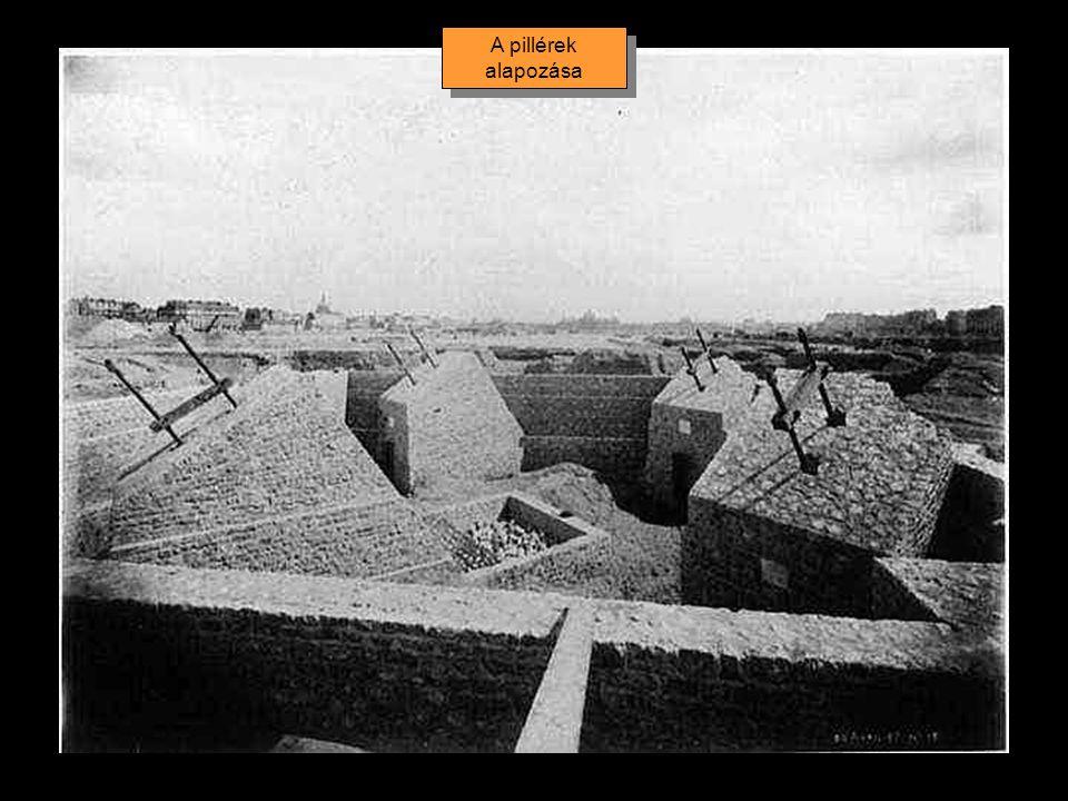 A pillérek néhány méterrel a földfelszín alatt, tömör kavicságyra épített beton alapzaton nyugszanak.