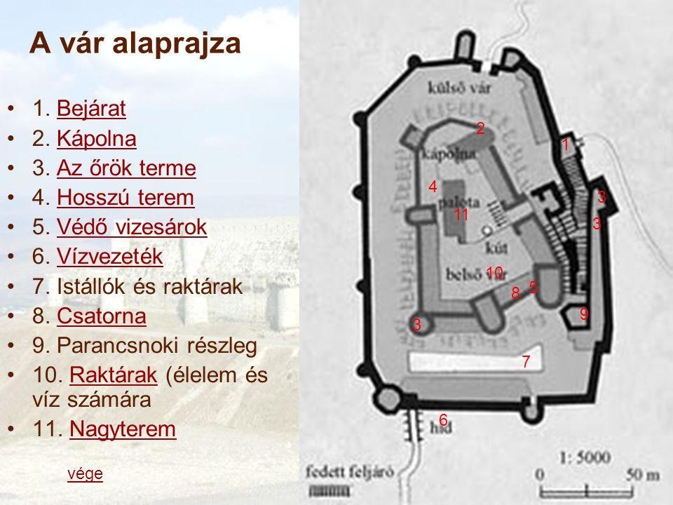 A vár alaprajza 1.BejáratBejárat 2. KápolnaKápolna 3.