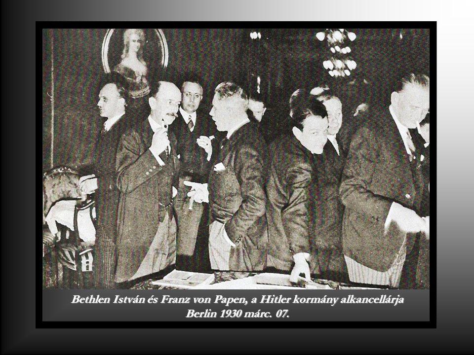 Bethlen István és Franz von Papen, a Hitler kormány alkancellárja Berlin 1930 márc. 07.