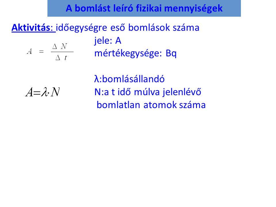A bomlást leíró fizikai mennyiségek Aktivitás: Aktivitás: időegységre eső bomlások száma jele: A mértékegysége: Bq λ:bomlásállandó N:a t idő múlva jel