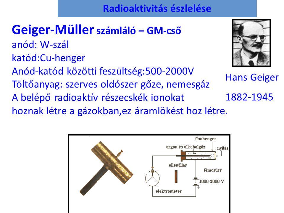 Radioaktivitás észlelése Geiger-Müller számláló – GM-cső anód: W-szál katód:Cu-henger Anód-katód közötti feszültség:500-2000V Töltőanyag: szerves oldószer gőze, nemesgáz A belépő radioaktív részecskék ionokat hoznak létre a gázokban,ez áramlökést hoz létre.