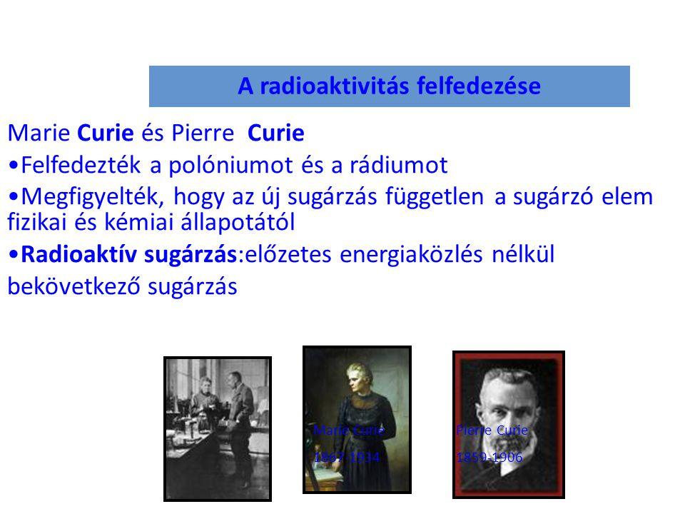 A radioaktivitás felfedezése Marie Curie és Pierre Curie Felfedezték a polóniumot és a rádiumot Megfigyelték, hogy az új sugárzás független a sugárzó elem fizikai és kémiai állapotától Radioaktív sugárzás:előzetes energiaközlés nélkül bekövetkező sugárzás Marie Curie 1867-1934 Pierre Curie 1859-1906