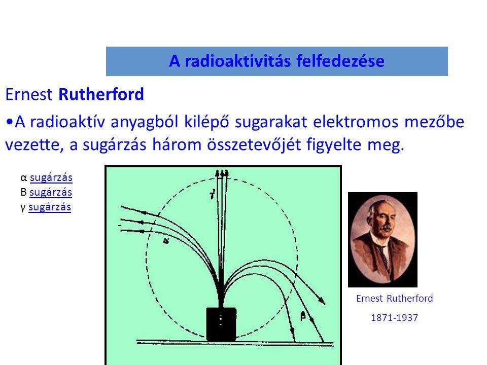 A radioaktivitás felfedezése Ernest Rutherford A radioaktív anyagból kilépő sugarakat elektromos mezőbe vezette, a sugárzás három összetevőjét figyelt
