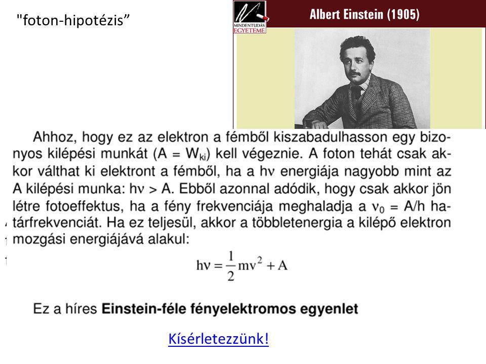 foton-hipotézis A fény diszkrét, E=hν nagyságú energiamennyiségekből, un.
