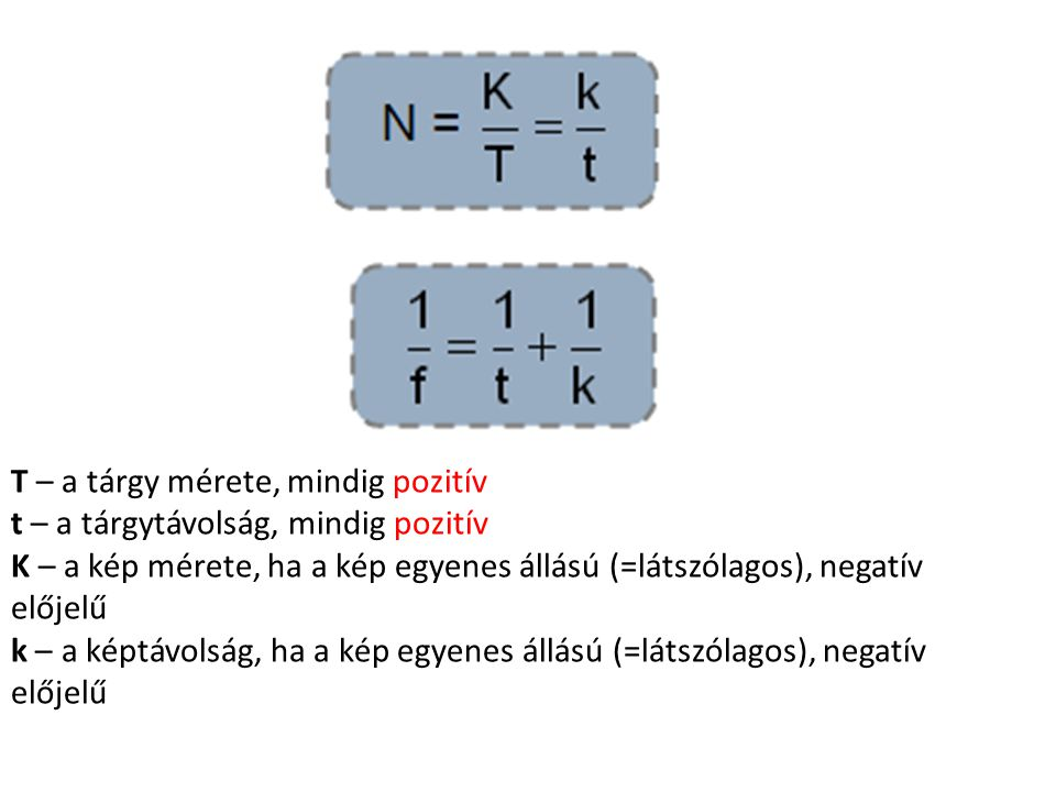 T – a tárgy mérete, mindig pozitív t – a tárgytávolság, mindig pozitív K – a kép mérete, ha a kép egyenes állású (=látszólagos), negatív előjelű k – a