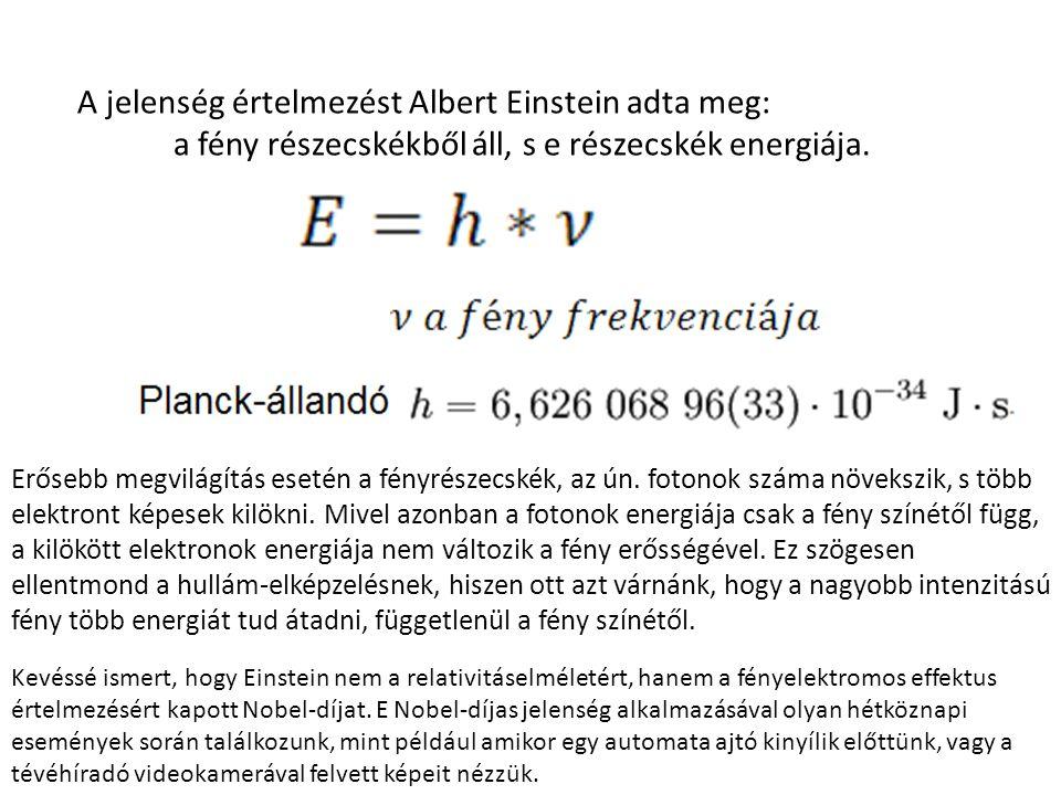 A jelenség értelmezést Albert Einstein adta meg: a fény részecskékből áll, s e részecskék energiája.