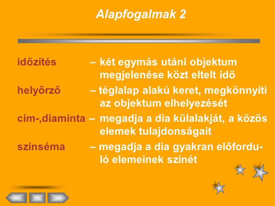Alapfogalmak 1 bemutató – szöveget és audovízuális elemeket tartalmazó lapok sorozata dia – a bemutató egy (általában egy kép- ernyőnyi) lapja objektu