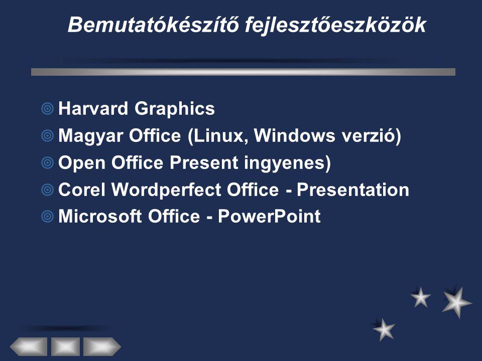 Bemutatókészítő fejlesztőeszközök  Harvard Graphics  Magyar Office (Linux, Windows verzió)  Open Office Present ingyenes)  Corel Wordperfect Office - Presentation  Microsoft Office - PowerPoint