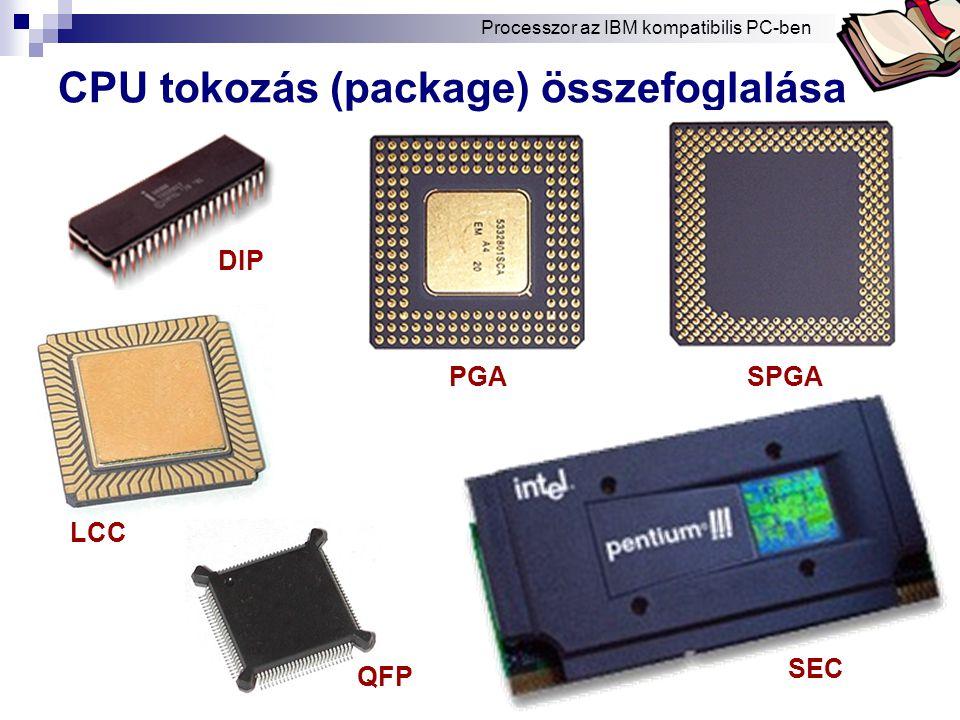 Bóta Laca CPU tokozás (package) összefoglalása PGASPGA DIP SEC LCC QFP Processzor az IBM kompatibilis PC-ben