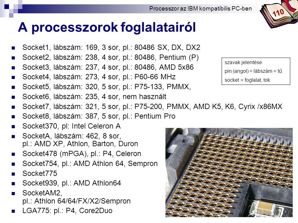 Bóta Laca A processzorok foglalatairól Socket1, lábszám: 169, 3 sor, pl.: 80486 SX, DX, DX2 Socket2, lábszám: 238, 4 sor, pl.: 80486, Pentium (P) Socket3, lábszám: 237, 4 sor, pl.: 80486, AMD 5x86 Socket4, lábszám: 273, 4 sor, pl.: P60-66 MHz Socket5, lábszám: 320, 5 sor, pl.: P75-133, PMMX, Socket6, lábszám: 235, 4 sor, nem használt Socket7, lábszám: 321, 5 sor, pl.: P75-200, PMMX, AMD K5, K6, Cyrix /x86MX Socket8, lábszám: 387, 5 sor, pl.: Pentium Pro Socket370, pl: Intel Celeron A SocketA, lábszám: 462, 8 sor, pl.: AMD XP, Athlon, Barton, Duron Socket478 (mPGA), pl.: P4, Celeron Socket754, pl.: AMD Athlon 64, Sempron Socket775 Socket939, pl.: AMD Athlon64 SocketAM2, pl.: Athlon 64/64/FX/X2/Sempron LGA775: pl.: P4, Core2Duo szavak jelentése pin (angol) = lábszám = tű socket = foglalat, tok Processzor az IBM kompatibilis PC-ben 110