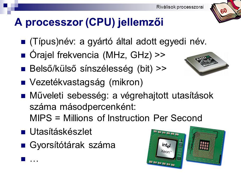 Bóta Laca A processzor (CPU) jellemzői (Típus)név: a gyártó által adott egyedi név.