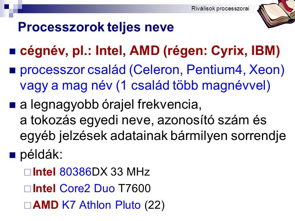 Bóta Laca Processzorok teljes neve cégnév, pl.: Intel, AMD (régen: Cyrix, IBM) processzor család (Celeron, Pentium4, Xeon) vagy a mag név (1 család több magnévvel) a legnagyobb órajel frekvencia, a tokozás egyedi neve, azonosító szám és egyéb jelzések adatainak bármilyen sorrendje példák:  Intel 80386DX 33 MHz  Intel Core2 Duo T7600  AMD K7 Athlon Pluto (22) Riválisok processzorai