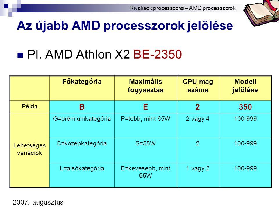 Bóta Laca Az újabb AMD processzorok jelölése Pl.