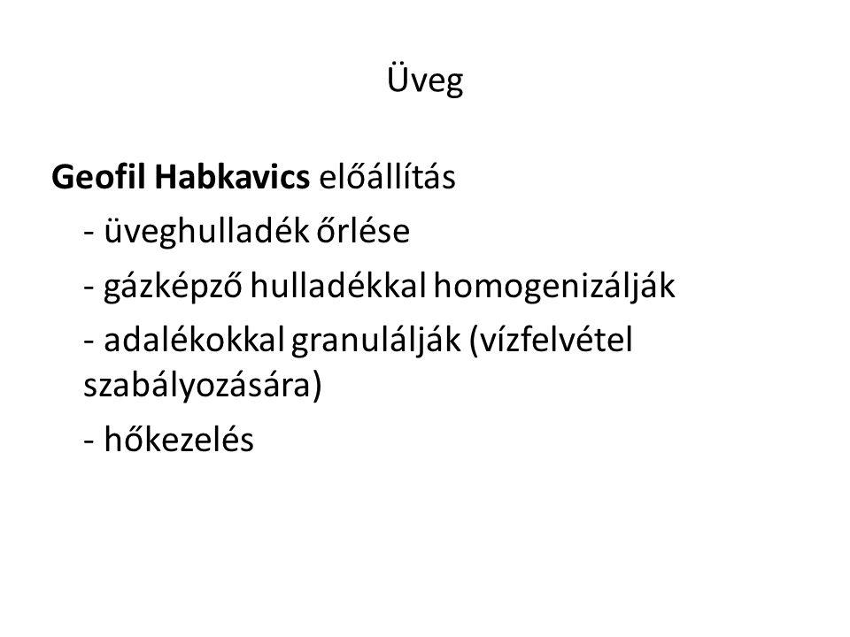 Üveg Geofil Habkavics előállítás - üveghulladék őrlése - gázképző hulladékkal homogenizálják - adalékokkal granulálják (vízfelvétel szabályozására) -