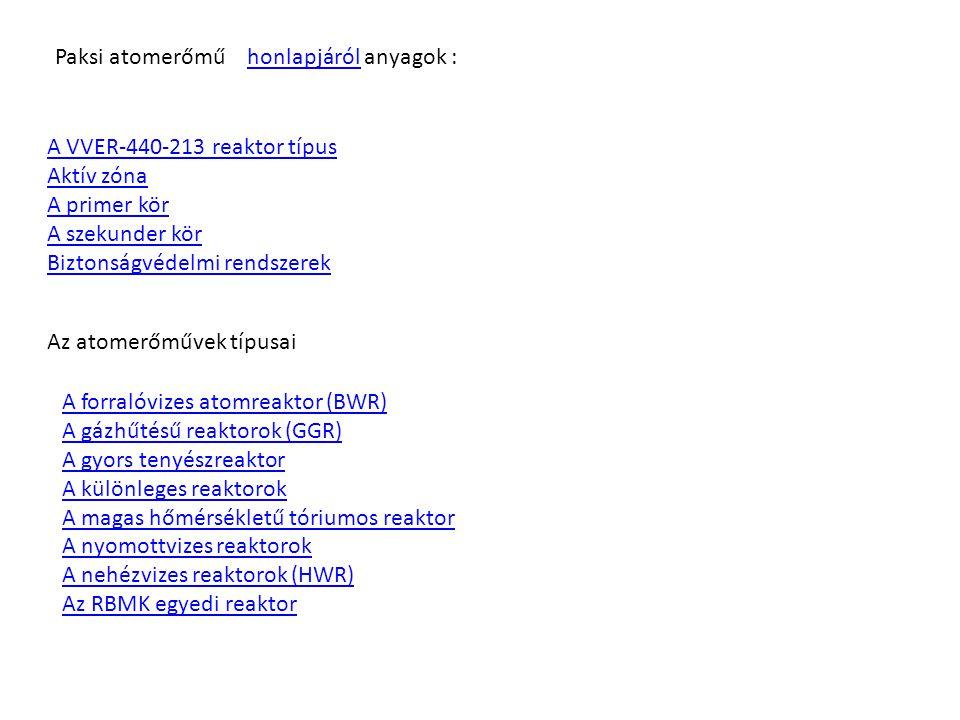 Paksi atomerőmű honlapjáról anyagok :honlapjáról A VVER-440-213 reaktor típus Aktív zóna A primer kör A szekunder kör Biztonságvédelmi rendszerek Az a