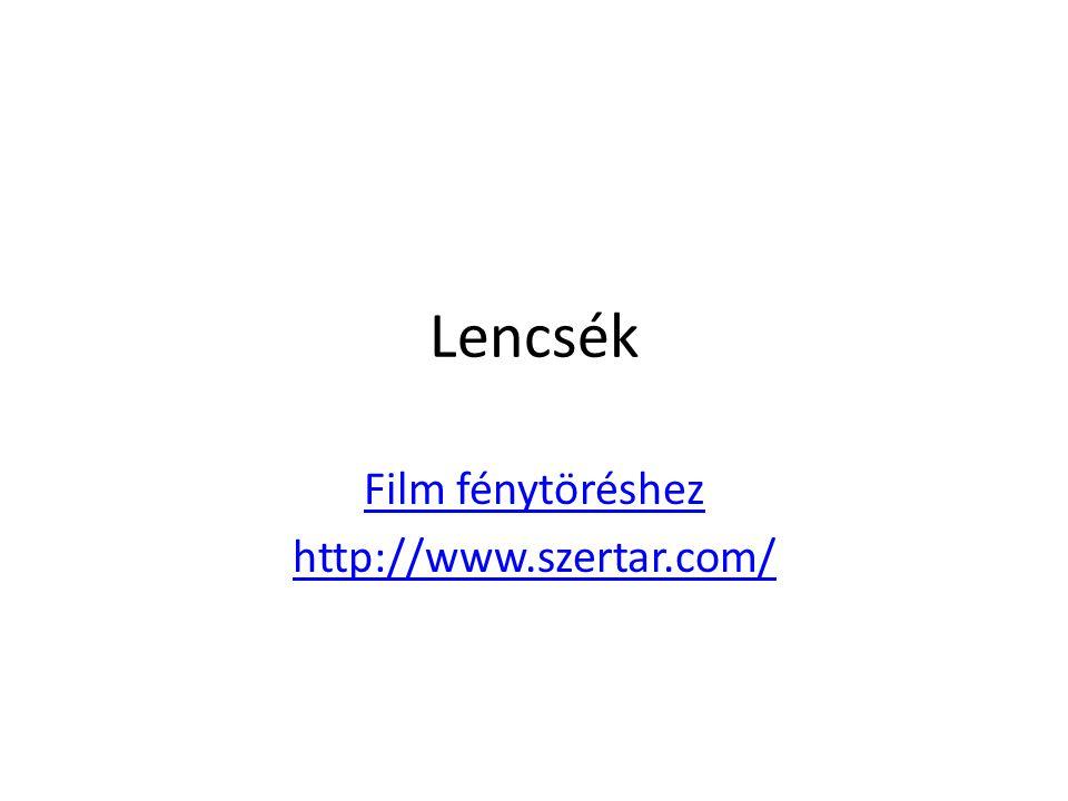 Lencsék Film fénytöréshez http://www.szertar.com/