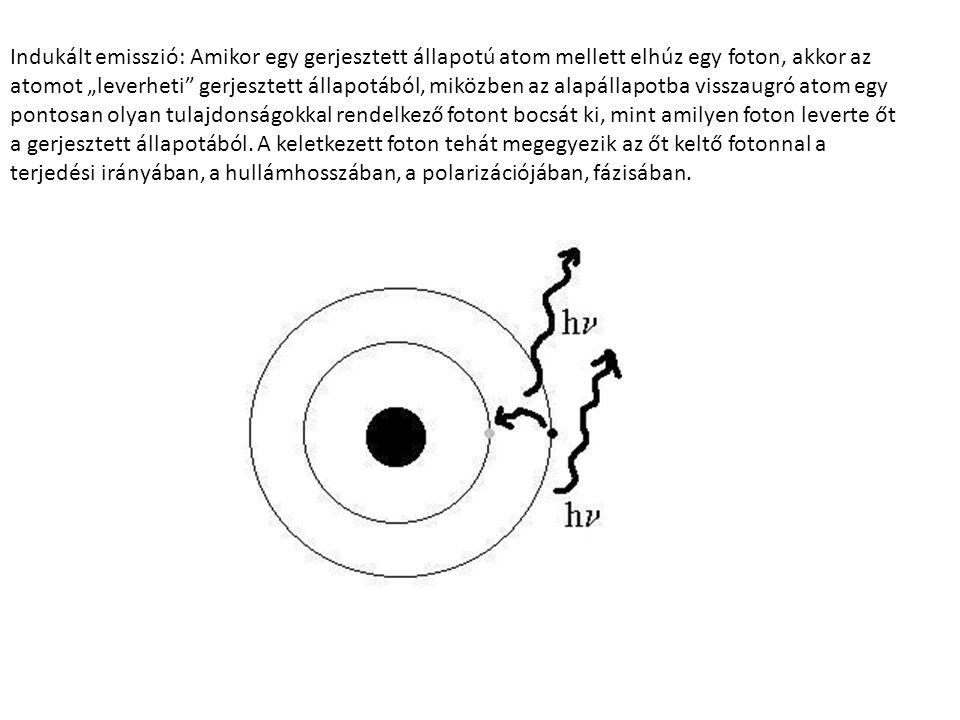 """Indukált emisszió: Amikor egy gerjesztett állapotú atom mellett elhúz egy foton, akkor az atomot """"leverheti gerjesztett állapotából, miközben az alapállapotba visszaugró atom egy pontosan olyan tulajdonságokkal rendelkező fotont bocsát ki, mint amilyen foton leverte őt a gerjesztett állapotából."""