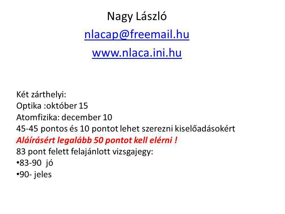 Nagy László nlacap@freemail.hu www.nlaca.ini.hu Két zárthelyi: Optika :október 15 Atomfizika: december 10 45-45 pontos és 10 pontot lehet szerezni kis