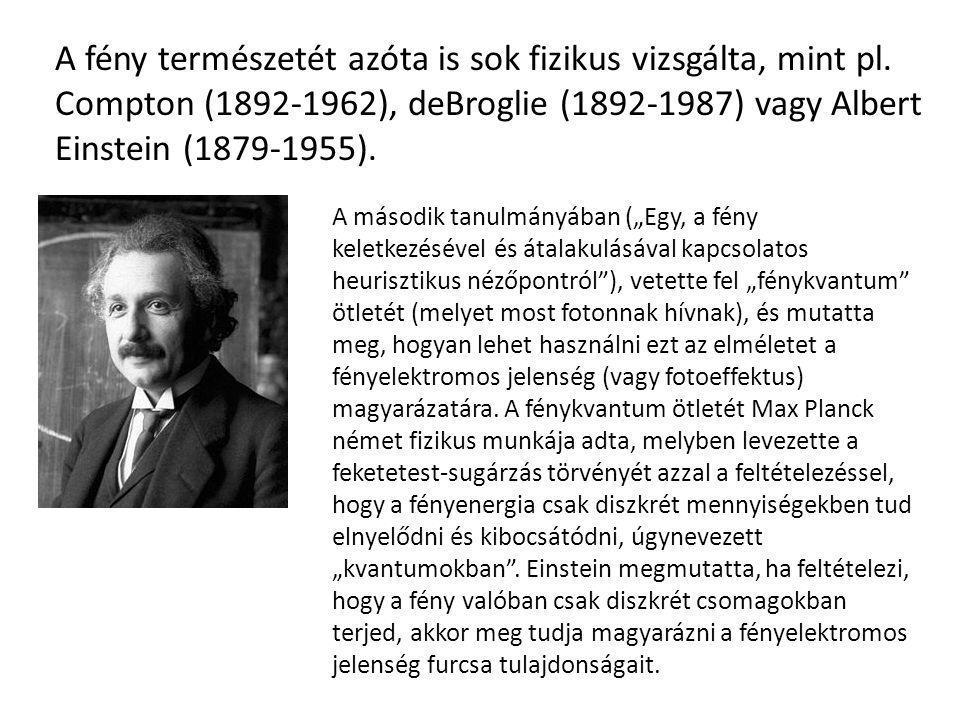 A fény természetét azóta is sok fizikus vizsgálta, mint pl. Compton (1892-1962), deBroglie (1892-1987) vagy Albert Einstein (1879-1955). A második tan