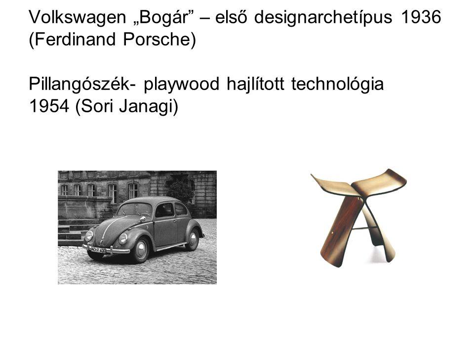 """Volkswagen """"Bogár"""" – első designarchetípus 1936 (Ferdinand Porsche) Pillangószék- playwood hajlított technológia 1954 (Sori Janagi)"""