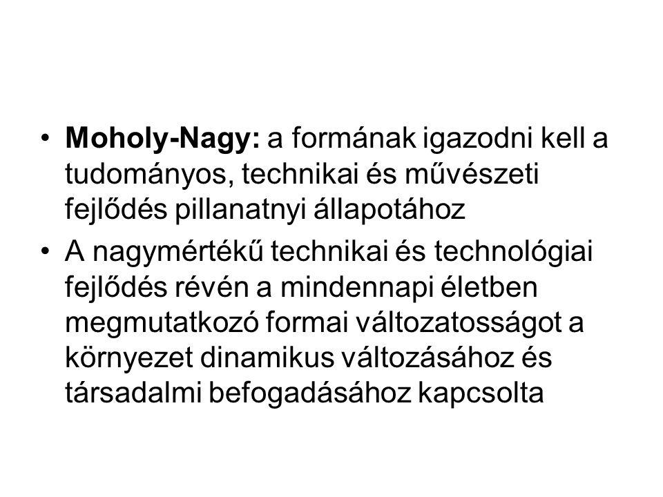 Moholy-Nagy: a formának igazodni kell a tudományos, technikai és művészeti fejlődés pillanatnyi állapotához A nagymértékű technikai és technológiai fe